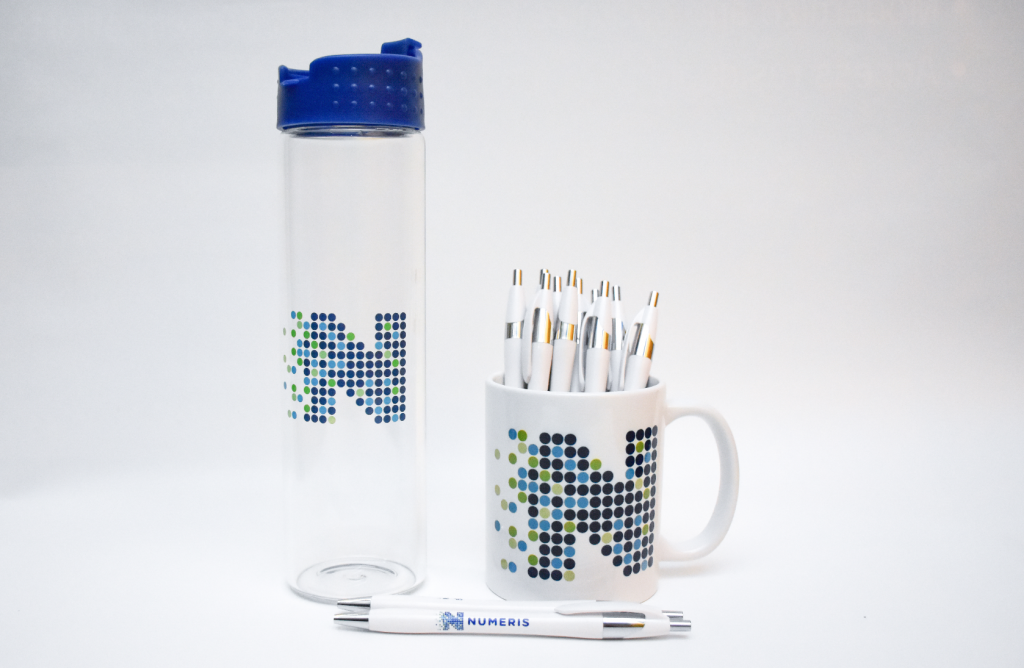 promotional materials, custom branding on mug, water bottle and pens